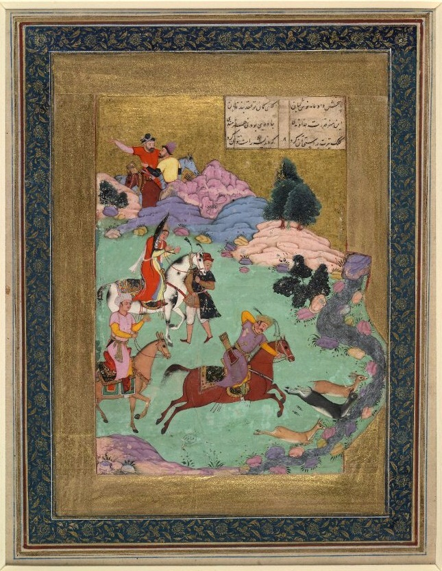 Бахрам на охоте (Британский музей), 1610 / Album leaf; painting depicts Bahram Gur (central figure) on horseback hunting three doe, from a Khamseh of Amir Khusrau Dihlavi. Behind the hunter stand two attendants on horseback, and one on foot. In the far distance two hunters stand behind a rocky hill. A stream, rocky hills, and minimal folliage decorate the background. Two columns, each composing of three lines of text, appear in the top right corner. Painted in opaque watercolours, gold leaf, and ink on paper.