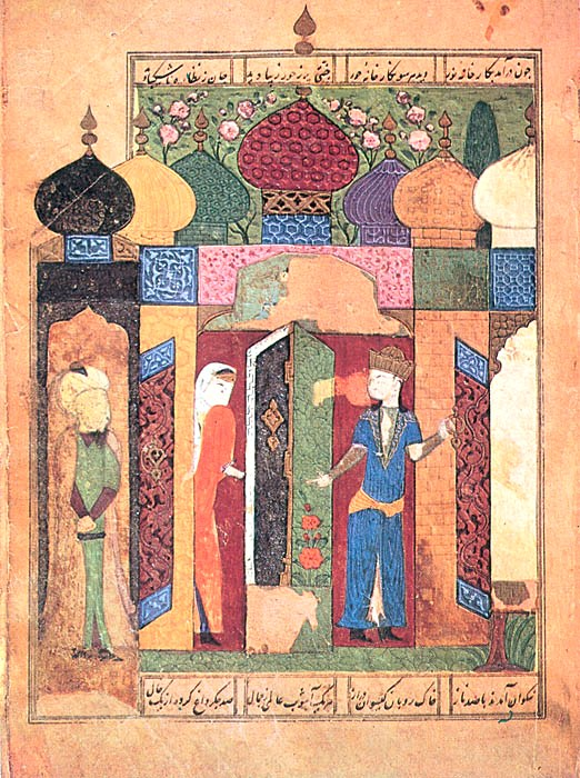 """Bahram Gur at the palace with seven domes,"" 1495-1496, polychrome painting on paper, calligrapher: Hasan ibn al-Hadi Kamáloddín al-Hossein al-Yazdi; Institute of Manuscripts of the Academy of Sciences of Azerbaijan, Baku, Azerbaijan. Story, written by Amir Khosrow Dihlaví (1253-1325) in the Hasht-Bihisht."
