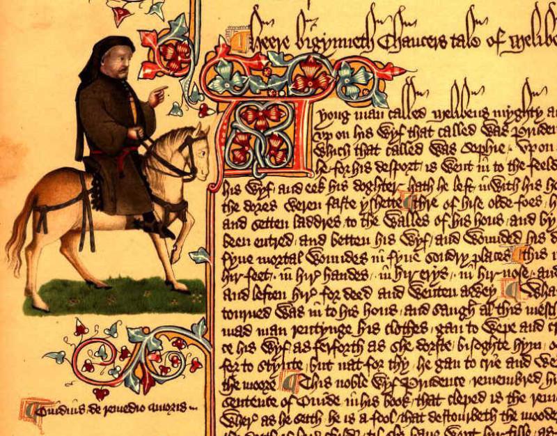 Изображение Чосера в виде паломника на полях Эллесмерской рукописи «Кентерберийских рассказов» (XV век)