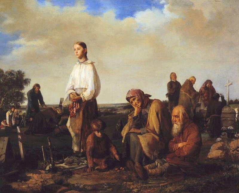 «Поминки на деревенском кладбище», (1865) — Государственный Русский музей