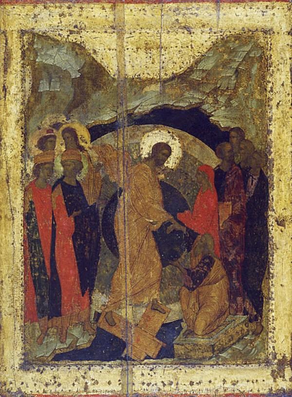 Даниил Черный и Андрей Рублев. Икона 1425-27 гг. из иконостаса Троице-Сергиевой лавры