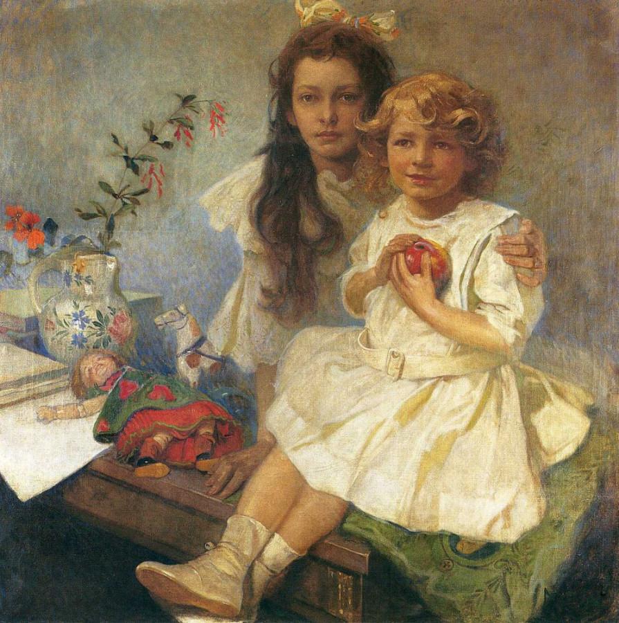 Ярослава и Иржи — дети художника. Альфонс Муха, 1919