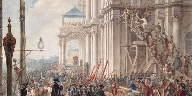 Екатерина II на балконе Зимнего дворца, приветствуемая гвардией и народом в день переворота. 1762