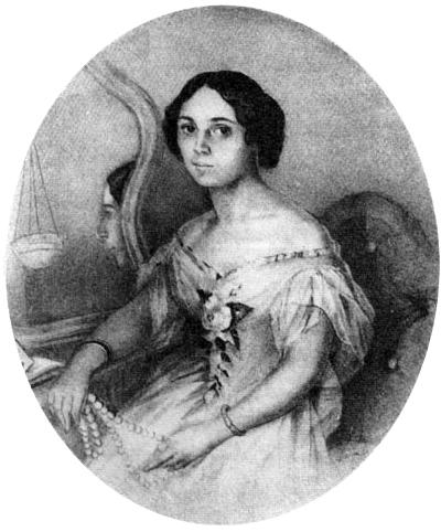 Денисьева Елена Александровна. Акварель Иванова. Петербург. 1851