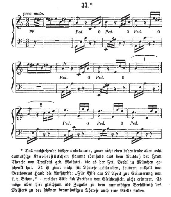 Начало «К Элизе» в первом издании c комментариями Людвига Ноля, 1867