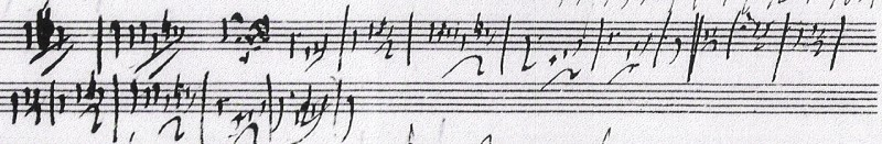 Первый набросок основной мелодии WoO 59 (Für Elise), 1808, отрывок из Муз. мс. автограф. Бетховен Ландсберг 10