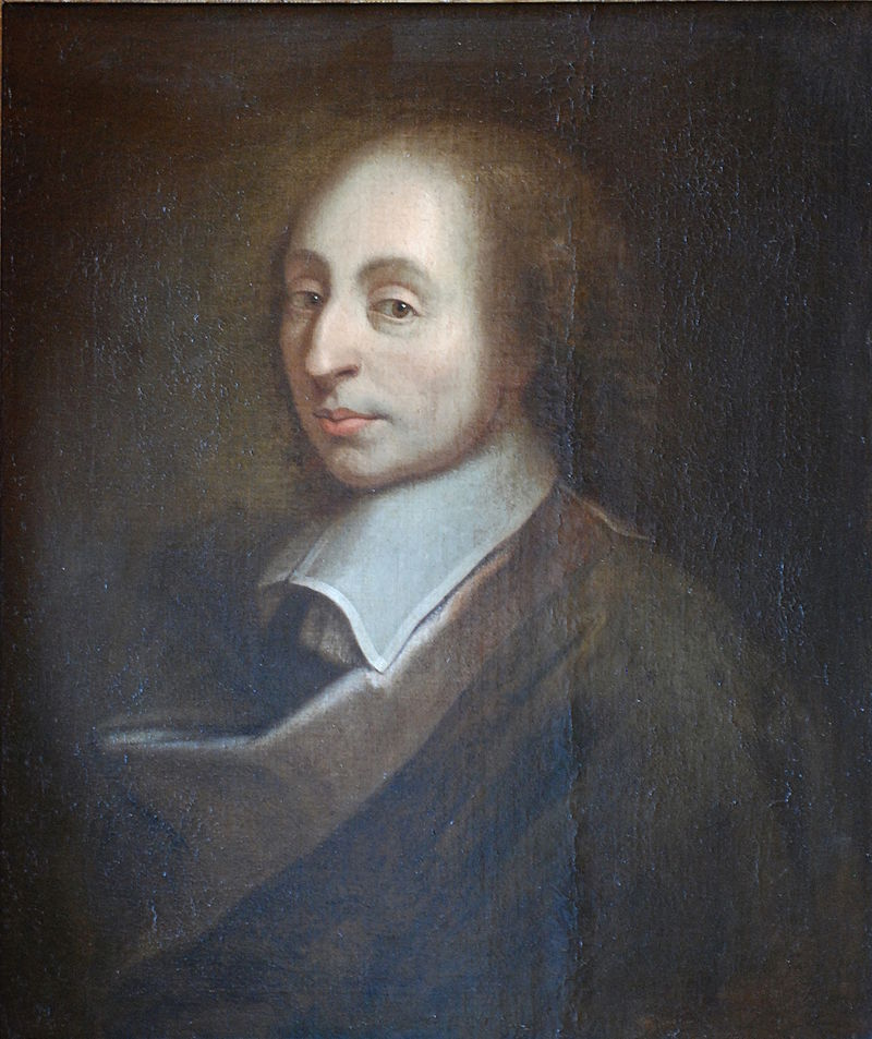 Painting of Blaise Pascal made by François II Quesnel for Gérard Edelinck in 1691