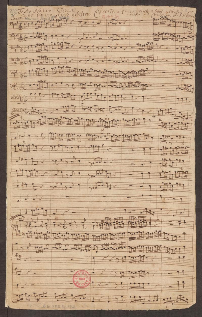 Первая страница заключительного хора BWV 142 в рукописной копии Пензеля 1756 года