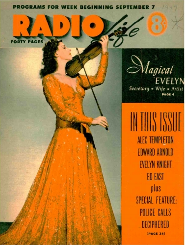 Evelyn Kaye as featured on the cover of Radio Life magazine's September 7, 1949, issue.