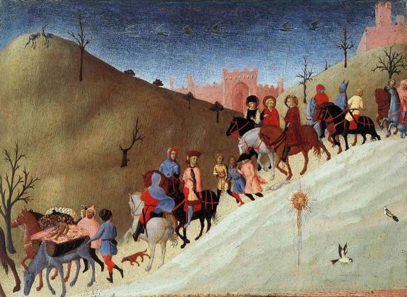 «Поклонение волхвов», Сассетта. Фрагмент. Караван путешественников. На переднем плане Вифлеемская звезда