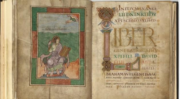 Иллюстрированная страница Йоркских Евангелий. Фото из Йоркского собора.