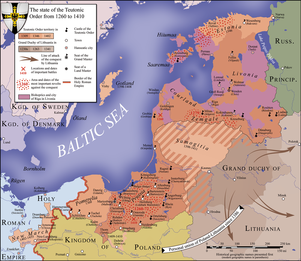 Map of the monastic state of the Teutonic Knights between 1260 and 1410