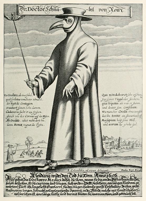 Изображение чумного доктора / © CC0 / Public Domain, Columbina, ad vivum delineavit. Paulus Fürst Excud