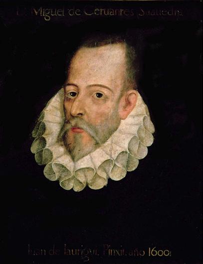 Портрет Мигеля де Сервантеса с подписью «Хуан де Хауреги. 1600 г.». Художник не установлен (подпись фальсифицирована). XVII в., добавления XIX в.