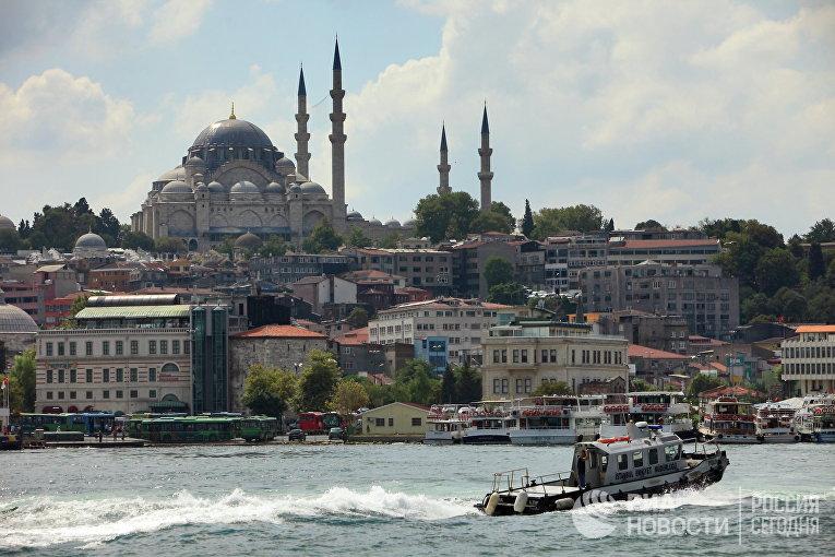 Вид на Голубую мечеть через пролив Босфор / © РИА Новости, Руслан Кривобок