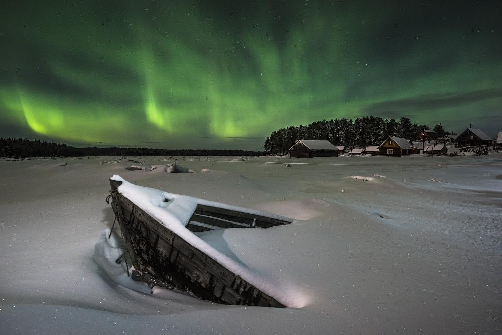 яркое фото в северодвинске северного сияния который стал вторым