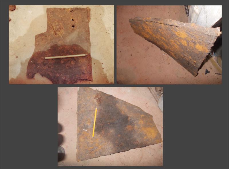 Куски брони найденные в районе Учхоза. Место боя танковой роты Колобанова. Возможно это куски разбитого Panzerjäger I .