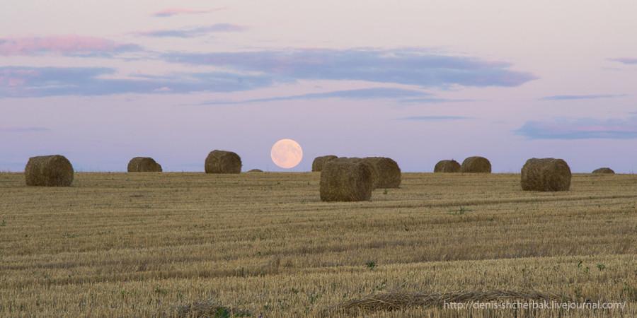 Восход луны над полем