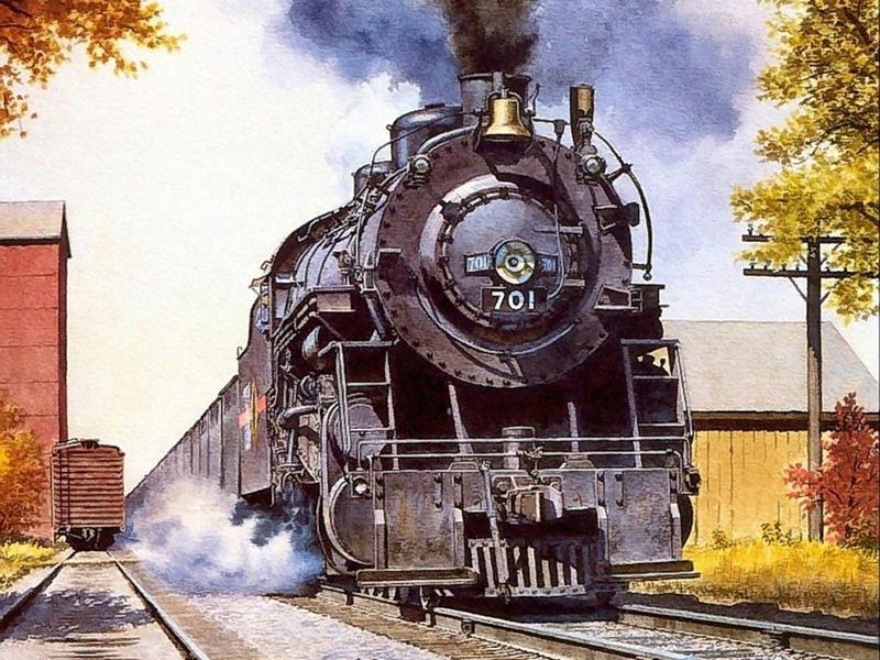 Открытка при, открытки с локомотивом