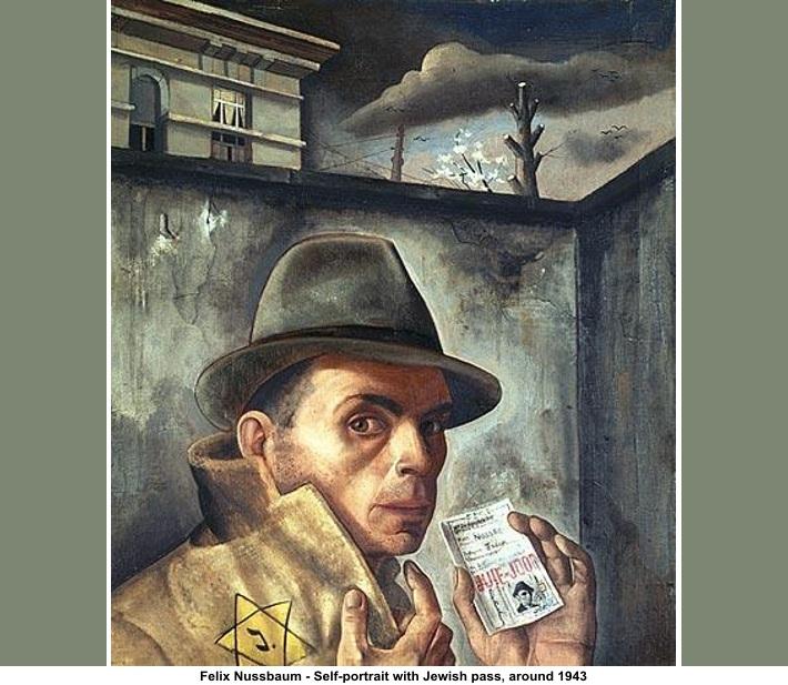 Self-portrait with Jewish pass, around 1943