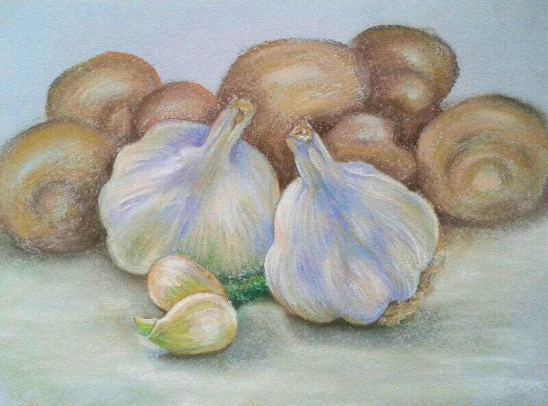 "Pastel \""Garlic and mushrooms\\"""