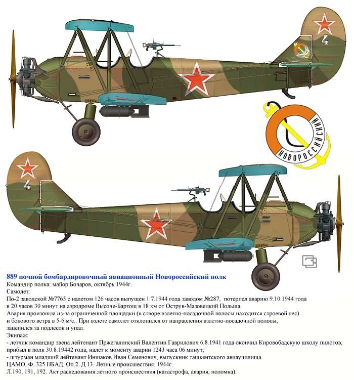 У-2 889 ночного бомбардировочного Новороссийского авиаполка