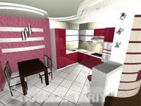 Вариант оформления кухни и расположение кухонных элементов