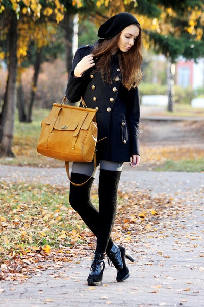 black-dkny-boots-navy-asos-coat-heather-gray-gipsy-tights-gold-bag_400