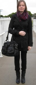 290612 awayfromblue daily outfit black tench coat pants boots mimco button bag leopard scarf