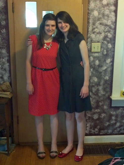 Kimber and I dressed and ready to go to the ceremony!
