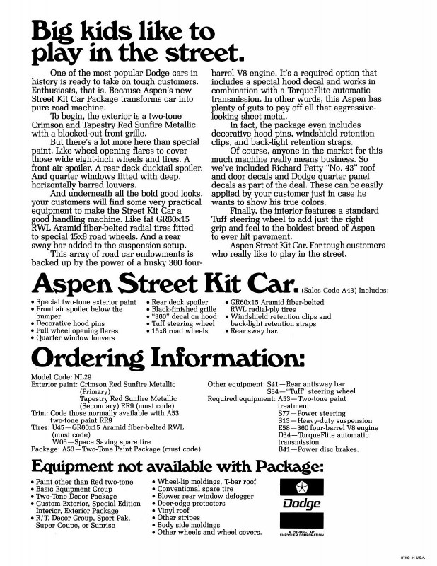 1978 Dodge Aspen Street Kit Poster-02