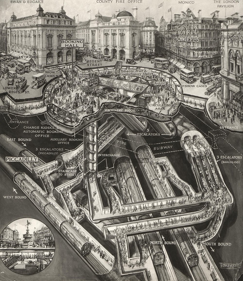 London Piccadilly Tube Station, amazing sectional drawing from 1928