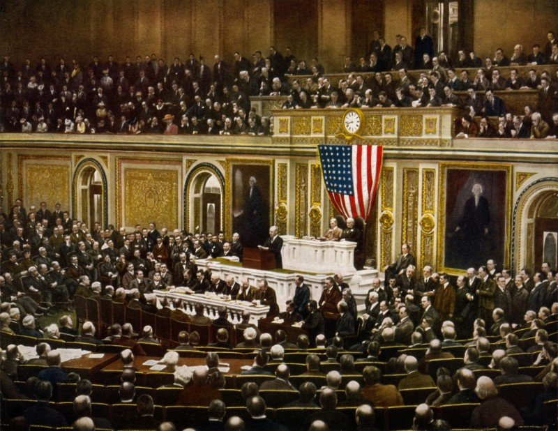 April 2, 1917 - President Woodrow Wilson asking Congress to declare war on Germany