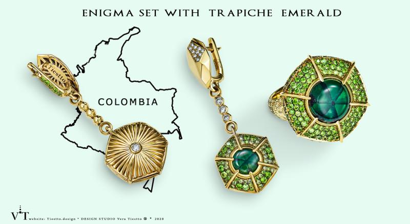 Комплект в золоте с редким изумрудом трапиче, демантоидами и бриллиантами. Enigma Trapiche