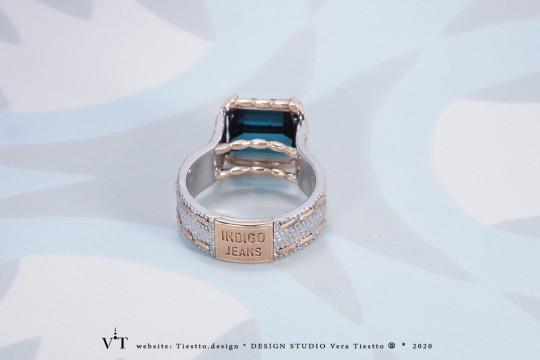 Кольцо INDIGO JEANS с природным синим турмалином индиголит в золоте