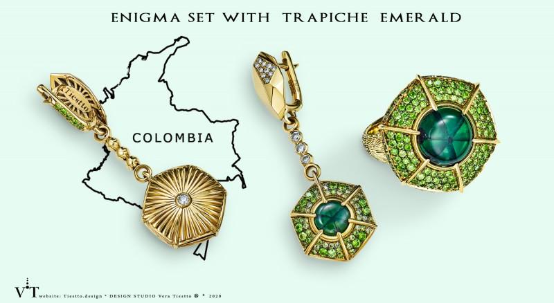 Изумруд трапиче в комплекте  ENIGMA, золото, бриллианты, демантоиды, дизайн Веры Тиестто