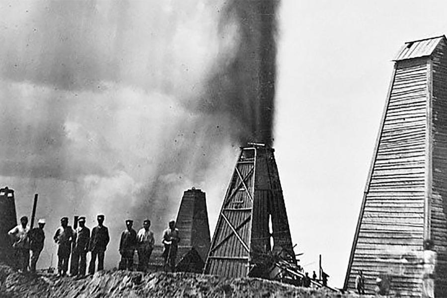 Нефтяной фонтан в Баку. Конец XIX—начало XX вв.
