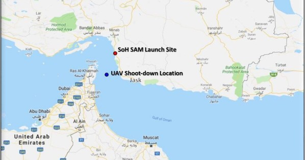 Падение БЛА Triton MQ-4C ВМС США после попадания иранской зенитной ракеты ЗРК 3rd Khordad