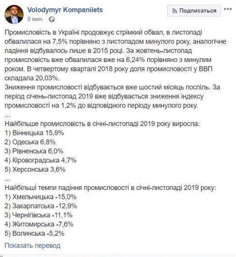 На Украине продолжается стремительный обвал промышленности