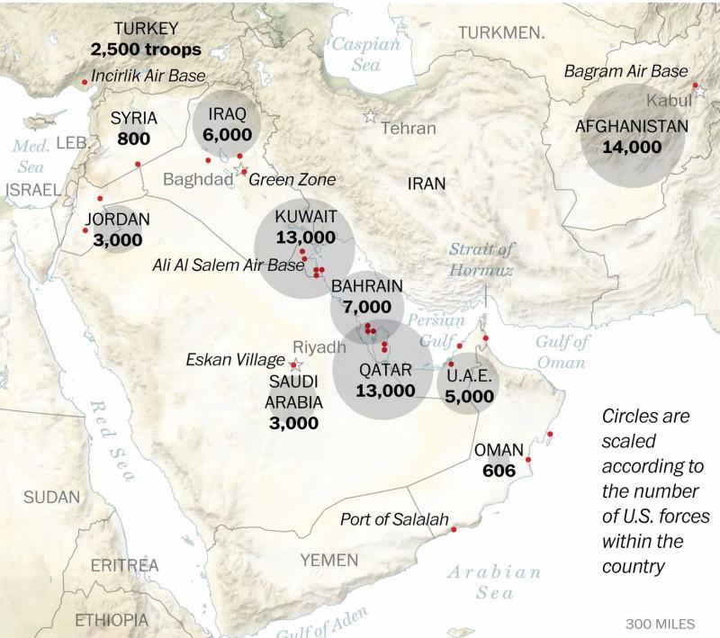 Приблизительная численность войск США на Ближнем Востоке