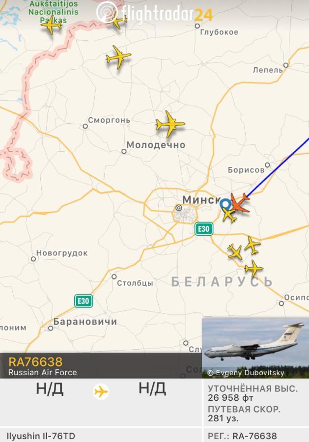 На посадку в Минске заходит Ил-76МД RA-76638 с десантниками из 76-й Псковской
