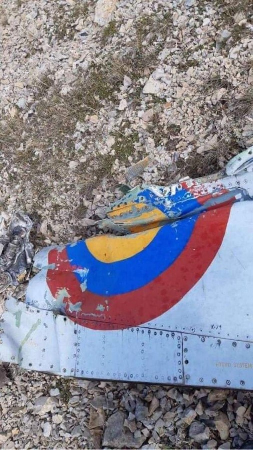 Обломки бывшего словацкого штурмовика Су-25 ВВС Армении, сбитого истре**телем