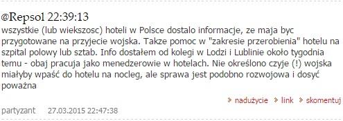 Очень тревожная информация: польские отели начинают переоборудовать в госпитали и штабы