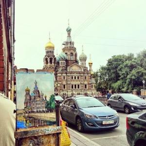 Храм Спаса-на-Крови на незаконченной картине и в реальности