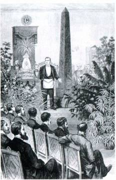 Горриндж читает лекцию на масонской церемонии открытия обелиска в Нью-Йорке в 1881 году