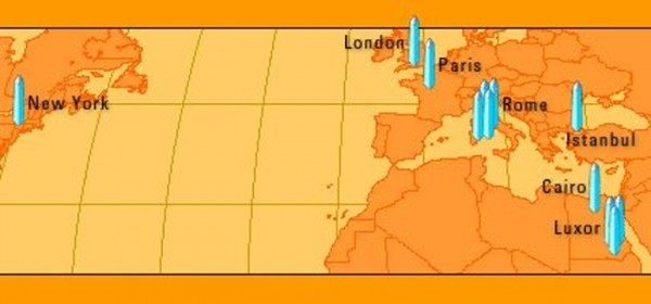 Карта расположения египетских обелисков