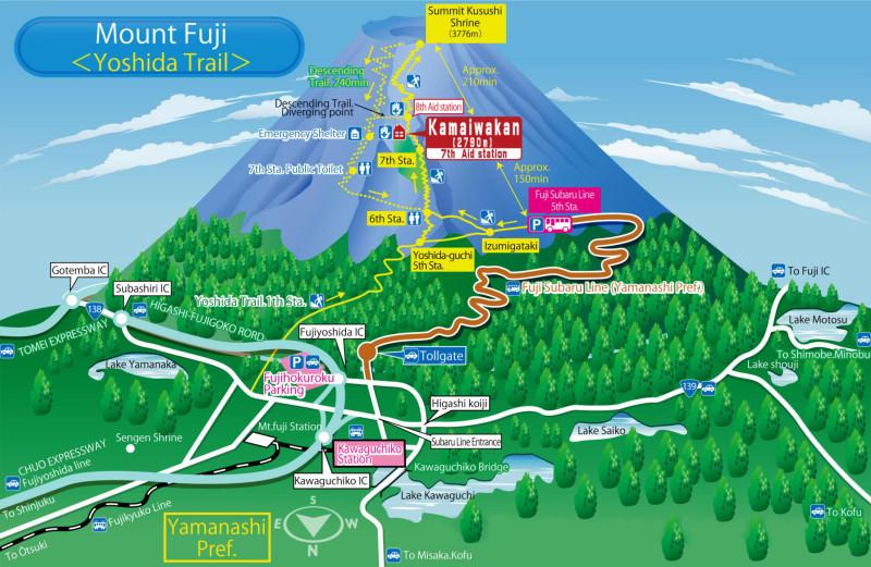 Схема тропы Ёшида. http://kamaiwakan.jpn.org/