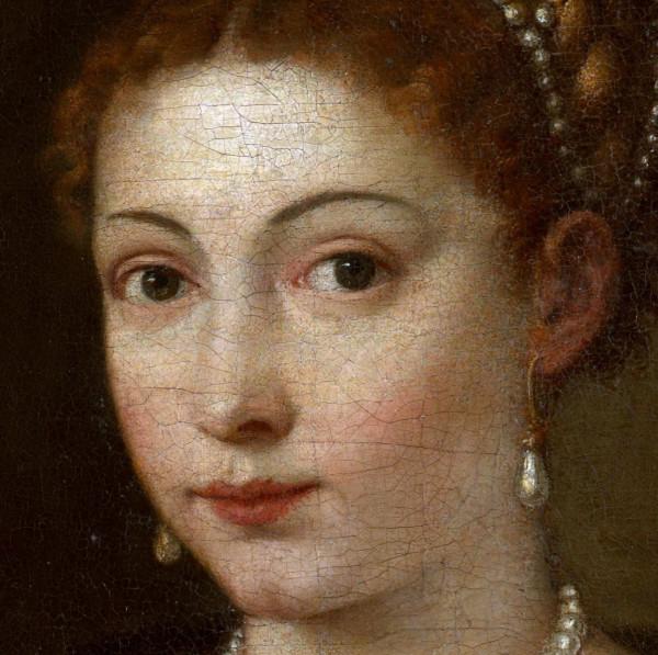 Портрет молодой женщины в меховой накидке