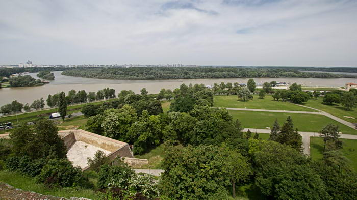 Белград. Калемегдан. Вид на Дунай и Саву