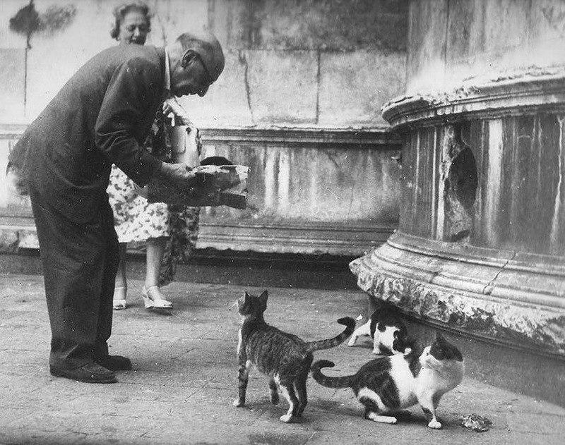 Игорь Стравинский с женой Верой в Венеции, 1956 г.